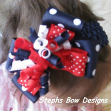 RED WHITE NAVY BLUE LAYERED KORKER HAIR BOW HEADBAND