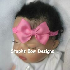 HOT PINK  DAINTY HAIR BOW LACE HEADBAND INFANT  BABY