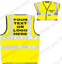 PERSONALISED CUSTOM PRINTED HI VIS HI VIZ HIGH VIS SAFETY VEST WAISTCOAT