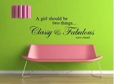 CLASSY AND FABULOUS COCO CHANEL  Wall Art Sticker Mural Decal  quote    rc-8