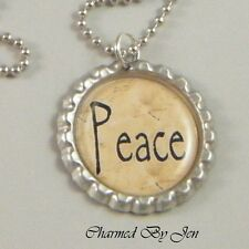 """PEACE"" Inspirational Word Saying Bottle Cap Charm Altered Art NECKLACE 24"" NEW"