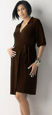 New JAPANESE WEEKEND MATERNITY CAREER WRAP Brown DRESS Adjustable with Collar
