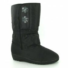 Blizzard Boots Womens Calf Length Fur Lined Pull On Boots Waterproof Warm Black