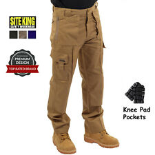 Mens Multi Pocket Cargo Work Trousers & Knee Pad Pockets AUTHENTIC SITE KING 003