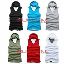 NEW MENS SINGLET TANK TOP SLEEVELESS HOODIE SHIRT BLACK, BLUE & GREY Sz M