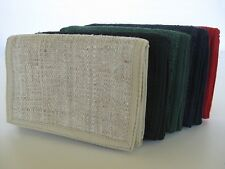 HEMP WALLET ~ trifold velcro ~ strong, durable, natural hemp, 7 color options