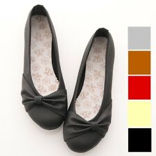 Womens Ballet FLATS Bowed BALLERINAS Casual Work Shoes Beige Black Pink Grey Red