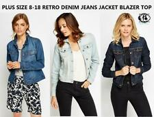 LADIES JEANS DENIM JACKET CURVE PLUS SIZE 8-18 CARDIGAN TOP SHIRT BIKER RETRO
