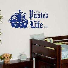 GIANT PERSONALISED QUOTE PIRATES LIFE WALL STICKER DECAL LARGE CHILDRENS BEDROOM