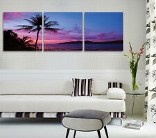 Palm Tree Beach In Sunset 2 Quality Canvas Print Set Of 3 Choice Of Clock FRAMED
