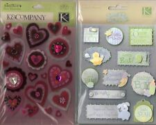 K&COMPANY Assorted STICKERS 3D Choice Scrapbooking WORDS FLORAL BABY PATRIOTIC