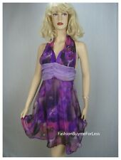 NWT Purple Backless Faux Silk Taffeta Chiffon Halter Floral Dress S M L