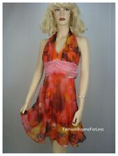 NWT Orange Sunset Backless Faux Silk Taffeta Chiffon Halter Floral Dress S M L