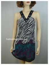B Faux Silk Clubwear Sexy Zebra Exotic Stripper Dancer Metal Latch Dress S M L