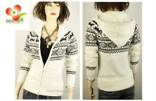 White Christmas Reindeer Mohair Knitted Hoodie Sweater Jacket Coat S / M  L / XL