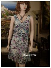 Peppe Peluso Blue Gathered Floral Silk Taffeta Victorian Chiffon Dress S M L