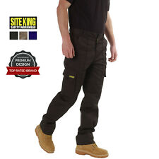 Mens Cargo Combat Work Trousers Size 28 to 52 Black Navy or Khaki By SITE KING