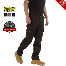 Mens Cargo Combat Work Trousers Size 28 to 52 Black or Navy By SITE KING