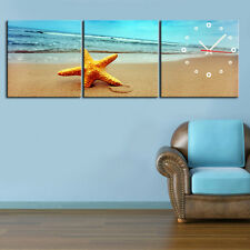 Star Fish On Beach Comtemporary Wall Clock On Quality Canvas Prints Set Of 3