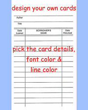 100 Library Loan Checkout Classroom Class Book Cards ~ You Pick Details & Color