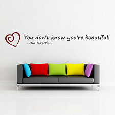 One Direction, Wall Art Lyrics, Wall Sticker, You Dont Know Your Beautiful!, Q5