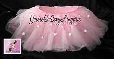 CHILDS Pink TUTU HAND DECORATED Pink ROSES Fluffy Layered Tulle KIDS Petticoat