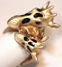 Mom & Baby Animal Giraffe Head Zoo Matte Gold Plated Topaz Crystal Ring Size Fun