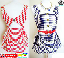 LADIES STRIPES SUMMER BLOUSE SIZE 6-14 NAUTICAL SAILOR TUNIC TOP BEACH TEENAGE