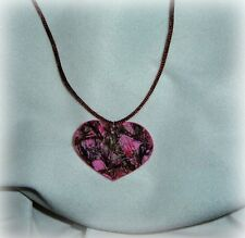 mossy oak, hot pink, blaze, real tree camo necklace pendant satin brown cord