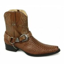 Mens Short Ankle Length Buckle Snake Skin Full Zip Western Cowboy Boots Brown