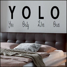 BEDROOM QUOTE YOU ONLY LIVE ONCE YOLO WALL ART STICKER TRANSFER STENCIL DECAL