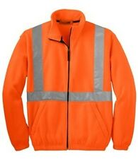 NEW Fleece Full-Zip Jacket with Reflective Taping SAFETY ORANGE OR SAFETY YELLOW