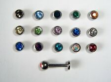 1.6 x 5mm 6mm 7mm 8mm CLEAR CRYSTAL JEWELLED FACE EAR LABRET STUD BAR & OPTIONS