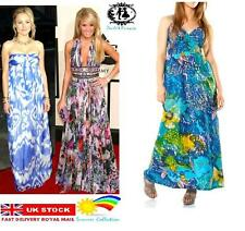LADIES FLOWER PRINT LONG MAXI DRESS FLOWER CAMI SKATER PROM TEA WEDDING SUMMER