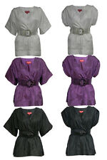 WOMENS LADIES GIRL TAILOR BELT BELTED BATWING SLEEVE STAIN DRESS TOP BLOUSE 8-14