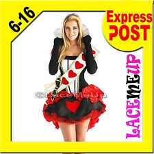 Deluxe QUEEN OF HEARTS COSTUME Alice Wonderland Fancy Dress Ladies