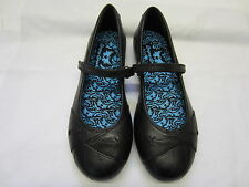Girls Angry Angels School Shoes In Black Leather 'Vocal' Wide Fitting