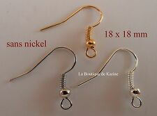 150 CROCHETS SUPPORTS BOUCLES D'OREILLES 18 mm SANS NICKEL 3 COULEURS - PERLES