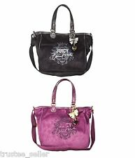 JUICY COUTURE Royal Highness Logo Large School Tote Bag Purse w/ Gold Bow Charm