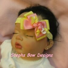 SOFT YELLOW PINK DAINTY LAYERED KORKER HAIR BOW SOFT HEADBAND EASTER SPRING CUTE