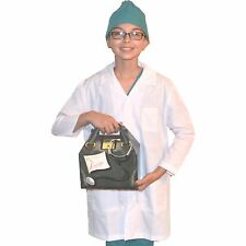 Kids Doctor Costume with REAL Lab Coat and Scrubs Cap, includes Doctor Bag
