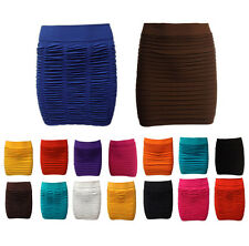 New Womens Ladies Bandage Ribbed Crinkle Bodycon Mini Skirt Stretch Party Skirts