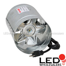 "Inline Booster Fan 4 6 8"" 100, 240 400 CFM High Flow Cooling Vent Hydroponics"