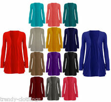 New Ladies Pocket Long Sleeve Cardigan Womens Top Size 8 10 12 14