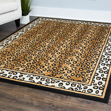 Contemporary Leopard Skin Animal Print Area Rug Modern Bordered African Carpet