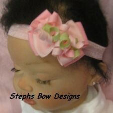 PINK, SOFT PINK & CELERY GREEN DAINTY Layered Korker Hair Bow Spring Easter CUTE