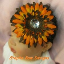 THANKSGIVING FALL GERBER DAISY w/ BLING LAYERED HAIR BOW HEADBAND BABY NEWBORN