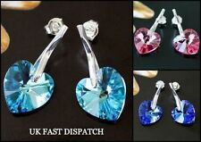 925 STERLING SILVER EARRINGS XILION HEART CRYSTAL MADE WITH SWAROVSKI ELEMENTS