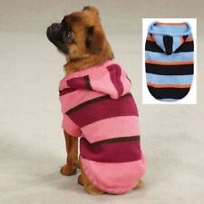 Zack & Zoey Striped Knit Dog Hoodie Puppy Sweater Warm Pet Pullover Pink or Blue