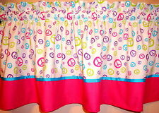 NEW peace sign on white Hot PINK custom ribbon VALANCE your CHOICE width